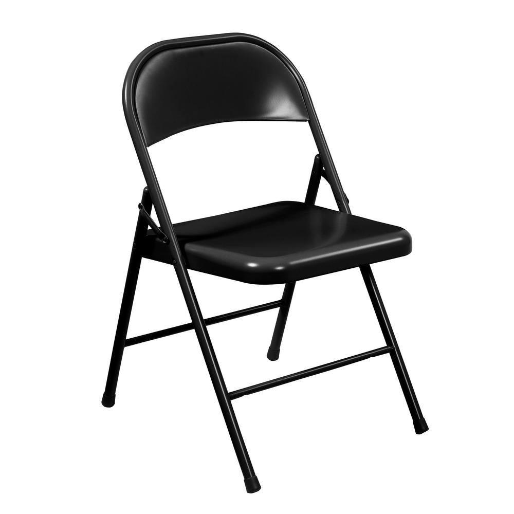 National Public Seating Black Metal Stackable Folding Chair (Set of 4)