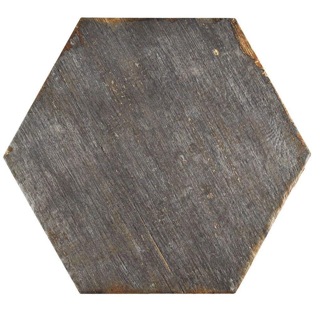 Retro Hex Cendra 14-1/8 in. x 16-1/4 in. Porcelain Floor and