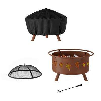 32 in. W x 25 in. H Round Steel Wood Burning Outdoor Deep Fire Pit in Rugged Rust with Leaf Cutouts