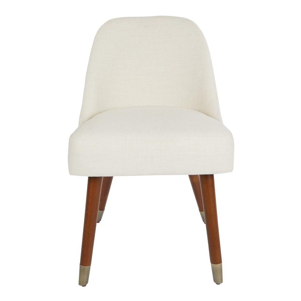 Ave Six Jenna Dining Chair In Linen With Coffeeed Legs And Antique Brass  Foot Caps (