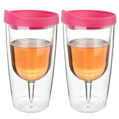2-Piece 10 oz. Pink Double Wall Acrylic Insulated Wine Tumbler Set
