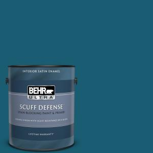 Behr Ultra 1 Gal S H 530 Tropical Skies Extra Durable Satin Enamel Interior Paint And Primer In One 775301 The Home Depot