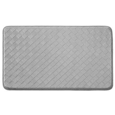 Diamond Weave Faux-Leather Steel Grey 18 in. x 30 in. Comfort Kitchen Mat