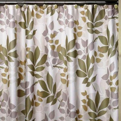 Shadow Leaves 72 in. x 72 in. 100% Cotton Botanical-Themed Shower Curtain