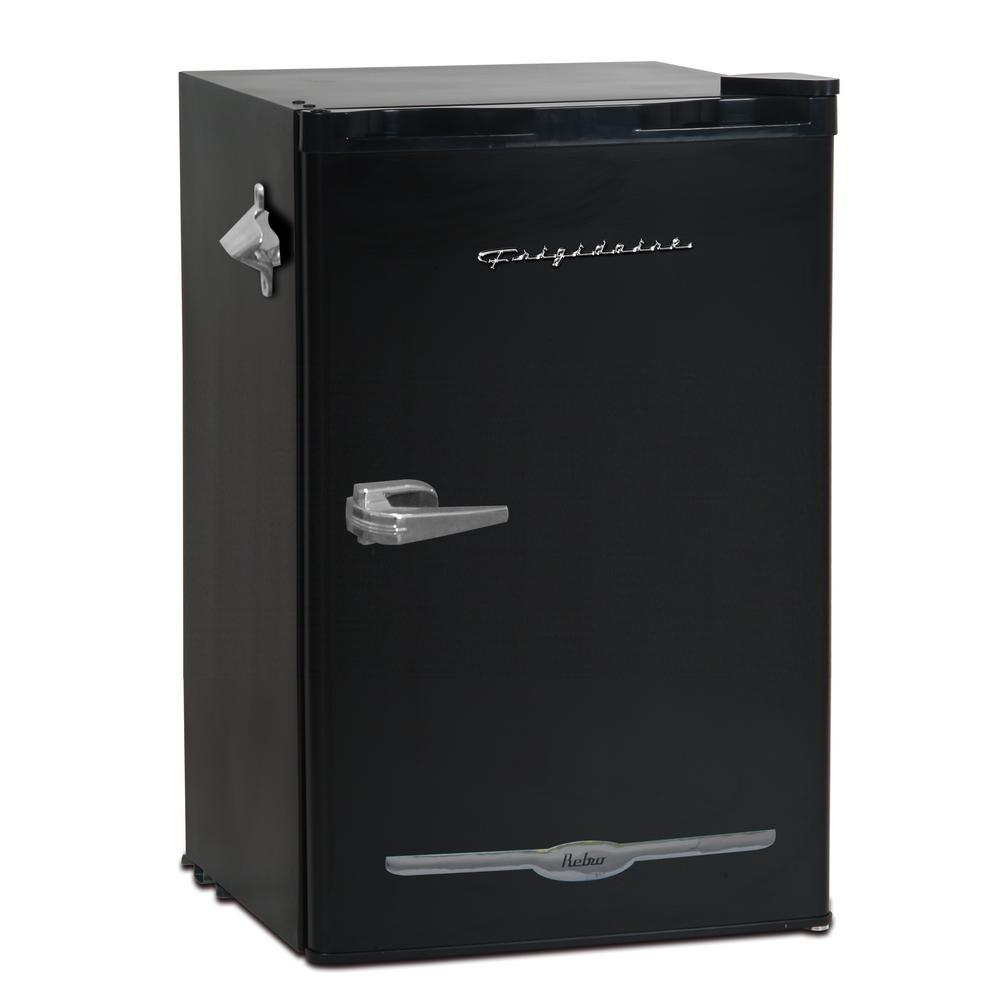 Frigidaire 3.2 cu. ft. Retro Mini Fridge in Black When you hear the Frigidaire name, immediately you think of quality built, affordable Kitchen products. The 3.2 cu. ft. retro mini refrigerator is party ready with an attached bottle opener and enough room for any type of beverage or snack. The interior freezer compartment will keep ice at the ready or your frozen treat nice and chilled. Color: Black.