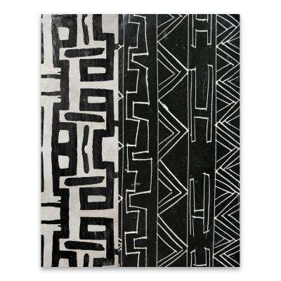 "22 in. x 28 in. ""Graphic Tribal Black White"" by Nikki Chu Wood Wall Art"