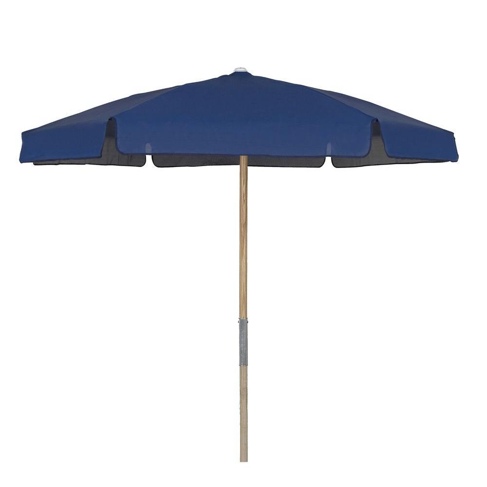 7.5 ft. Wood Beach Patio Umbrella with Navy Blue Vinyl Coated Weave