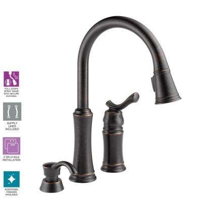 Lakeview Single-Handle Pull-Down Sprayer Kitchen Faucet with Soap Dispenser in Venetian Bronze