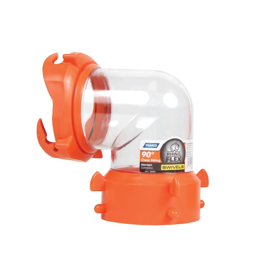 Camco RhinoFLEX Clear 90° Sewer Hose Swivel Fitting
