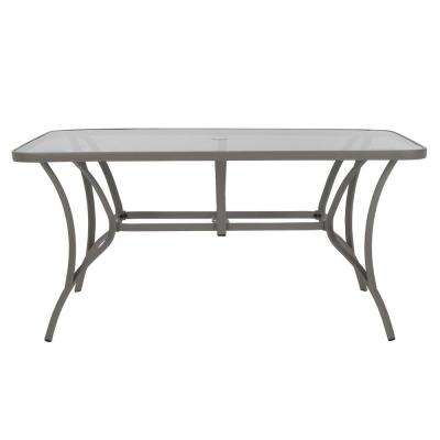 Paloma Sand Steel Outdoor Dining Table With Tempered Glass Table Top