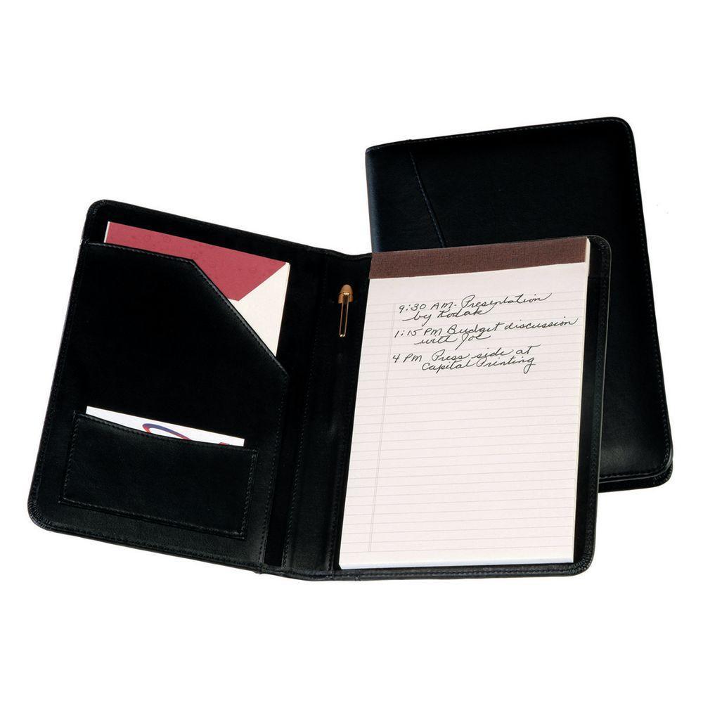 Genuine Leather Compact Writing Portfolio Organizer, Black
