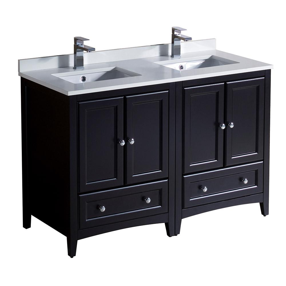 Fresca Oxford 48 in. Double Vanity in Espresso with Quartz Stone Vanity Top in White with White Basins
