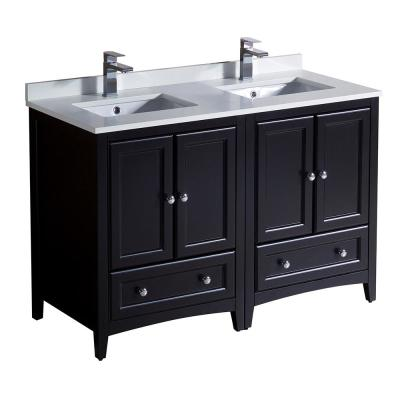 Oxford 48 in. Double Vanity in Espresso with Quartz Stone Vanity Top in White with White Basins