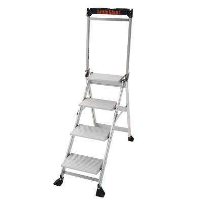 4 Step Aluminium Jumbo Step Step Ladder 375 lbs. Rated Type IAA