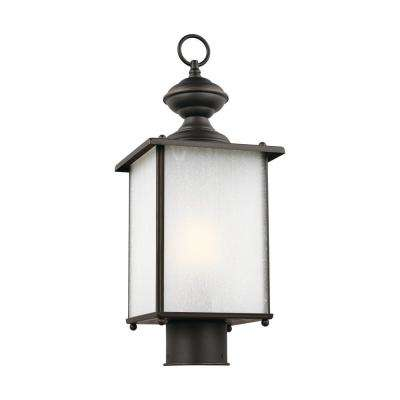 Jamestowne 1 light outdoor antique bronze post light with led bulb