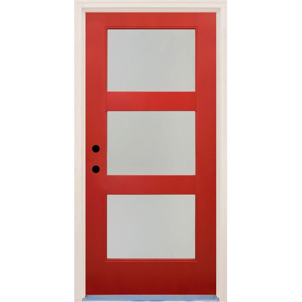36 in x 80 in Elite Engine RH 3 Lite Satin Etch Glass Contemporary Painted Fiberglass Prehung Front Door w/ Brickmould