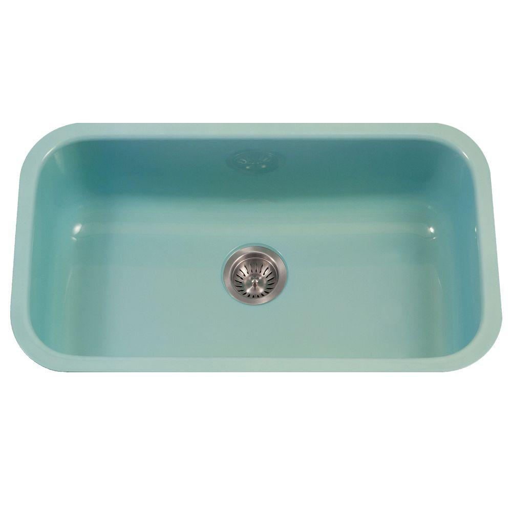 HOUZER Porcela Series Undermount Porcelain Enamel Steel 31 in. Large ...
