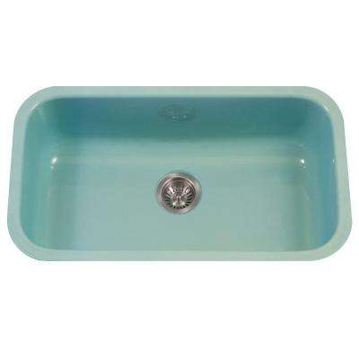 Porcela Series Undermount Porcelain Enamel Steel 31 in. Large Single Bowl Kitchen Sink in Mint