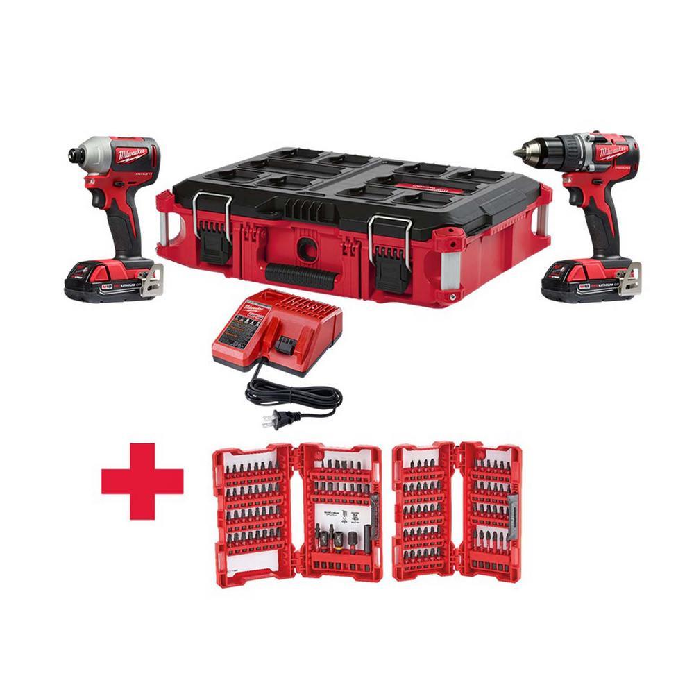 M18 18-Volt Lithium-Ion Brushless Cordless Drill/Impact Combo Kit (2-Tool) W/ (2) 2.0Ah Batteries,PACKOUT Case & Bit Set