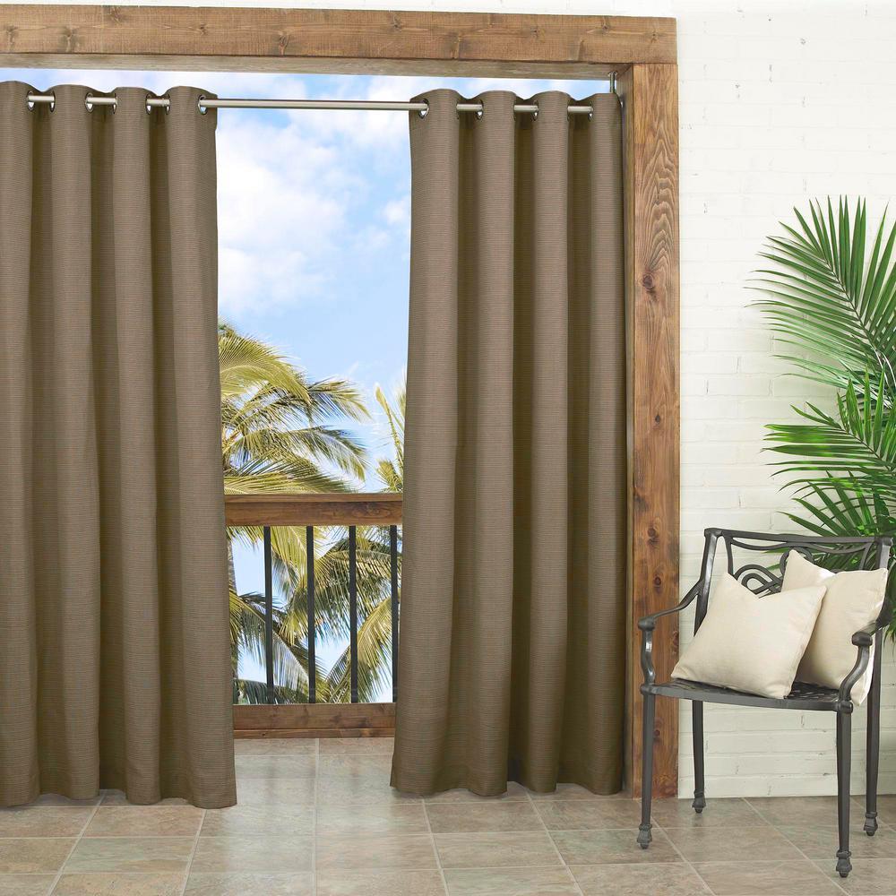 Parasol Key Largo Indoor/Outdoor Window Curtain Panel in Caramel - 52 in. W x 108 in. L