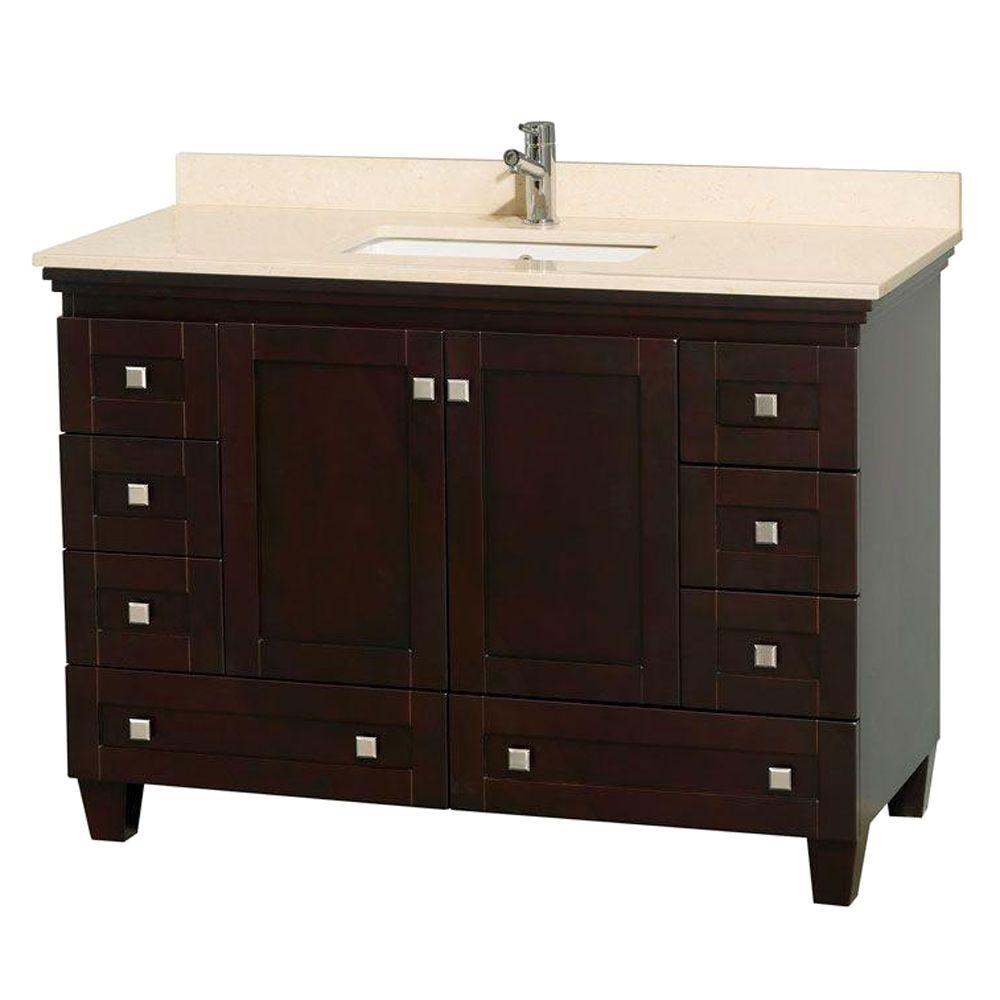Wyndham Collection Sheffield 48 In Vanity In Espresso With Marble Vanity Top In Ivory