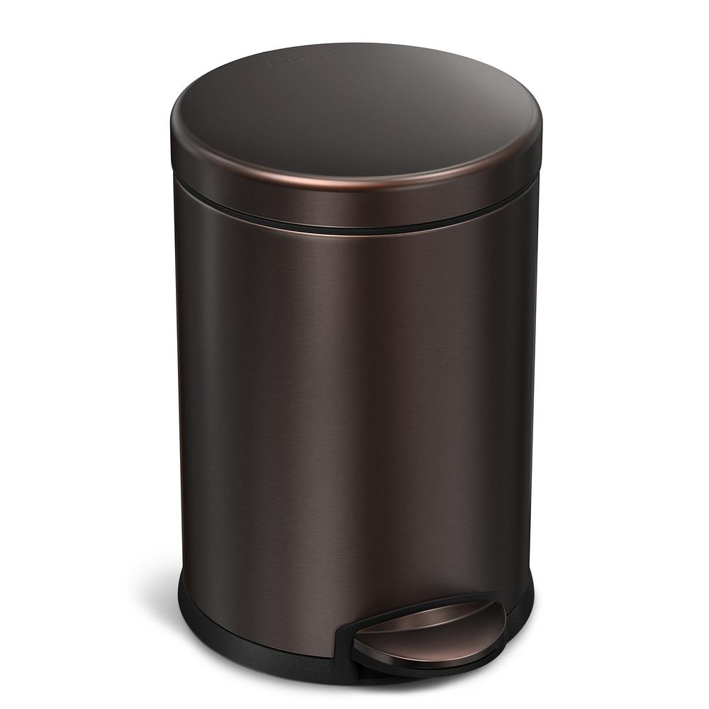 simplehuman 4 5 liter dark bronze stainless steel round step on trash can cw2040 the home depot. Black Bedroom Furniture Sets. Home Design Ideas