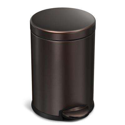 4.5-Liter Dark Bronze Stainless Steel Round Step-On-Trash Can