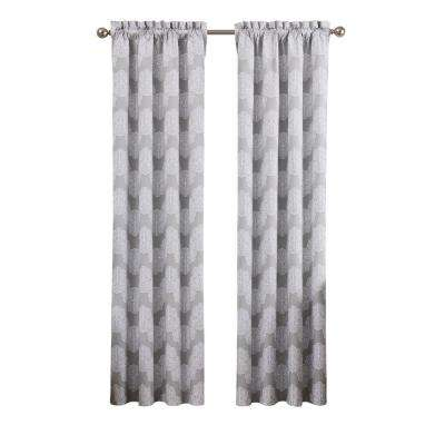 Airwaves 42 in. W x 84 in. L Blackout Polyester Window Curtain in Grey