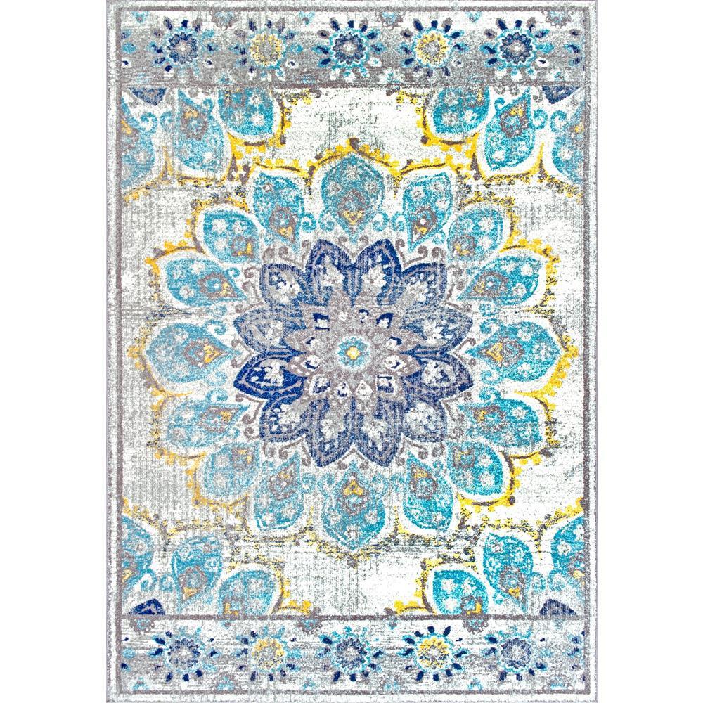 Nuloom Washable Rugs: NuLOOM Vintage Floral Kiyoko Blue 8 Ft. X 10 Ft. Area Rug