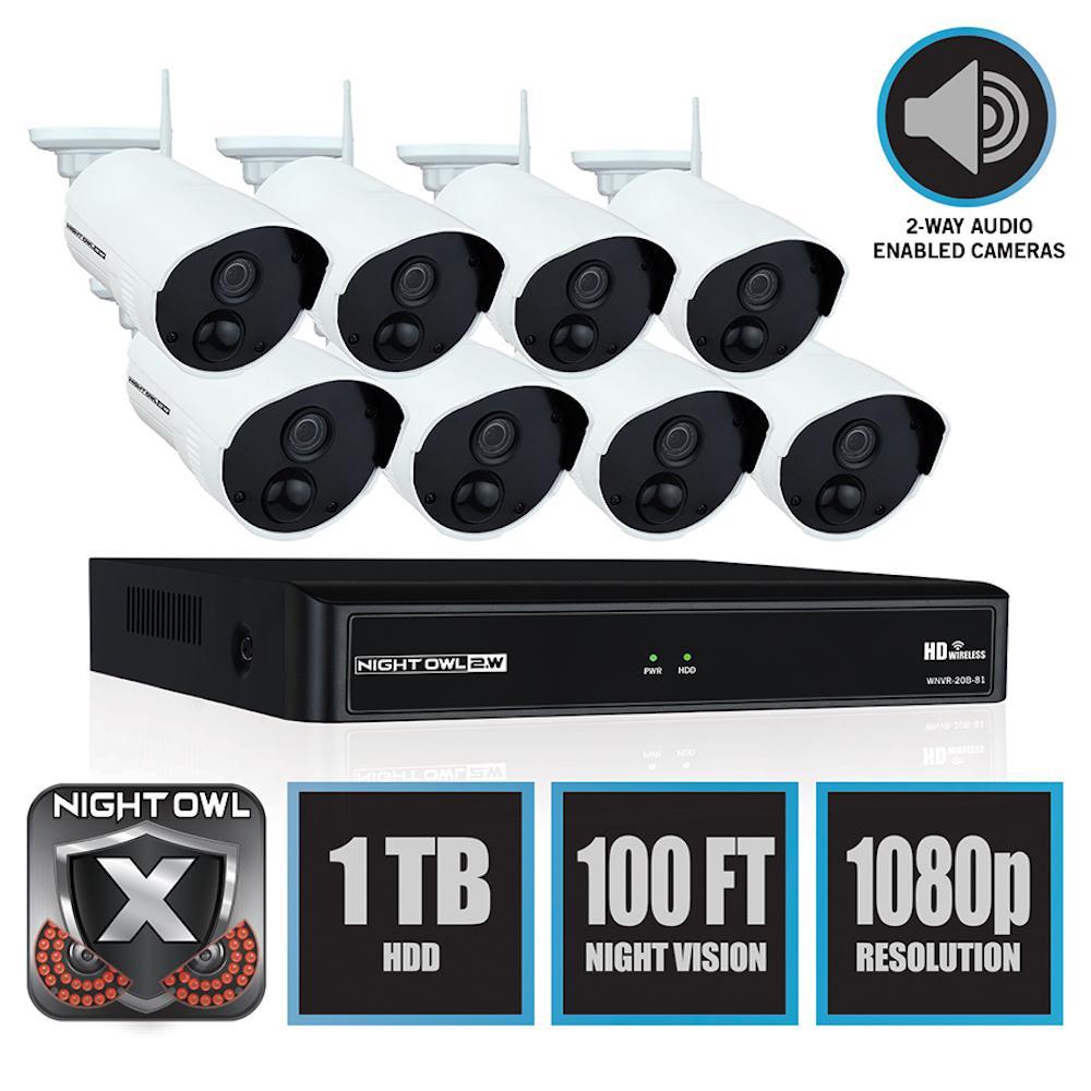Wireless 8-Channel NVR 8 AC Powered 1080p 1TB Hard Drive PIR Cameras Surveillance System