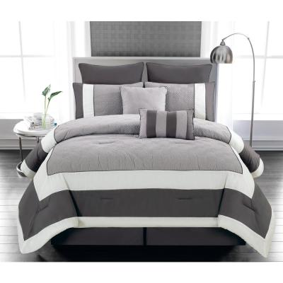 Spain 8-Piece Sandstone-Smoke Queen Comforter Set