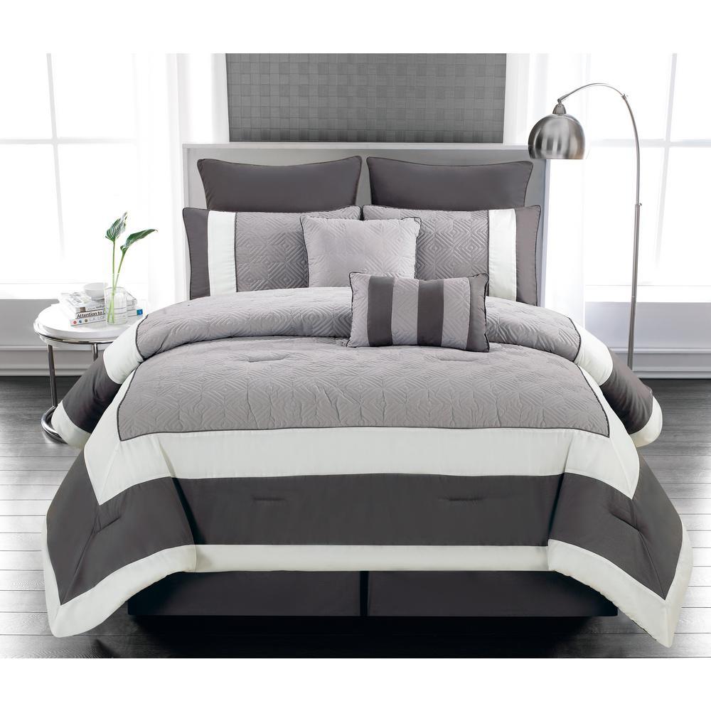 Spain 8-Piece Sandstone-Smoke Queen Comforter Set