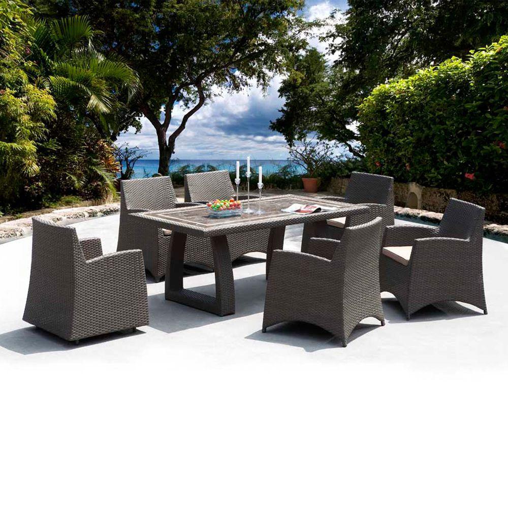 Caico Outdoor Furniture Metro 7-Piece Woven Wicker Patio Dining Set-DISCONTINUED