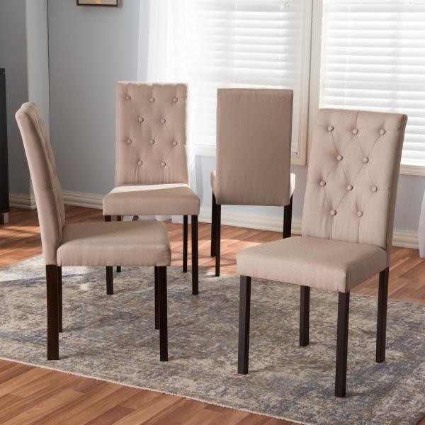 Baxton Studio Gardner Beige Fabric Upholstered Dining Chairs Set Of