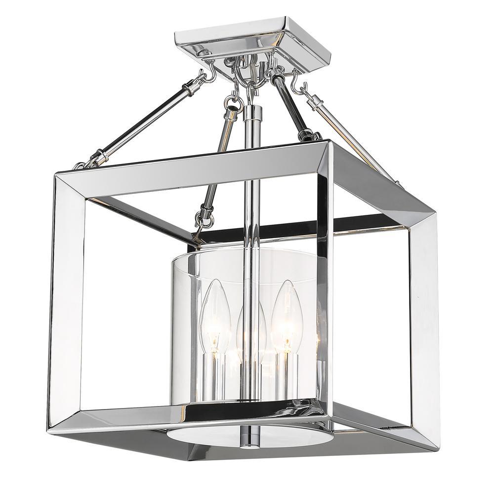 Golden Lighting Smyth CH 3-Light Chrome Semi-Flush Mount with Clear Glass