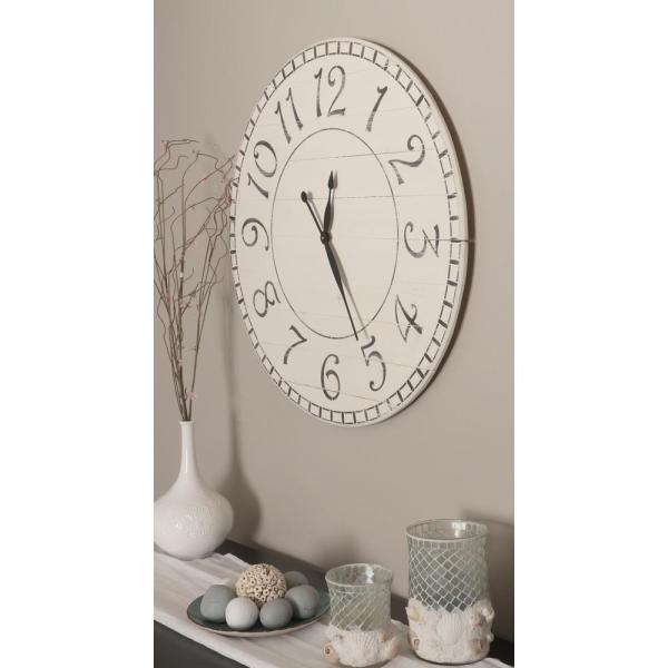Brandtworks 30 In Oversized Antique White Farmhouse Wall Clock 30whbktrx The Home Depot