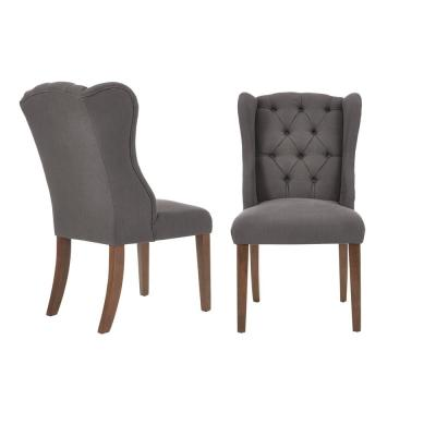 Belcrest Sable Brown Wood Upholstered Dining Chair with Charcoal Seat (Set of 2) (24.02 in. W x 40.94 in. H)