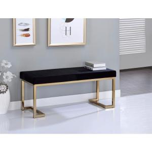 Acme Furniture Bench in Black Fabric and Champagne by Acme Furniture