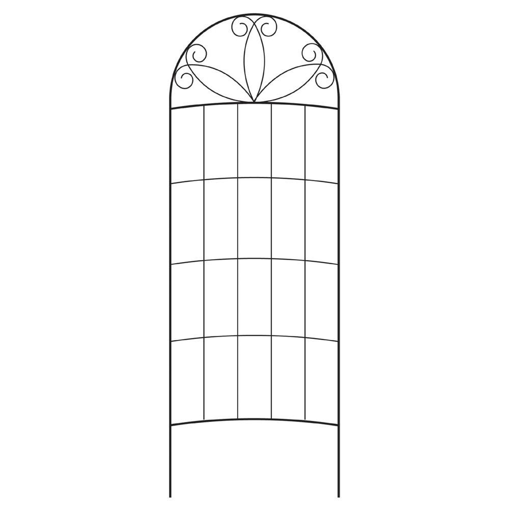 Black Steel Scroll Curved Trellis
