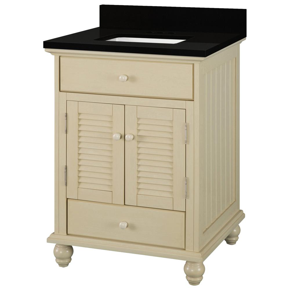 Home Decorators Collection Cottage 25 in. W x 22 in. D Vanity in Antique White with Granite Vanity Top in Midnight Black with Trough White Basin was $629.0 now $377.4 (40.0% off)