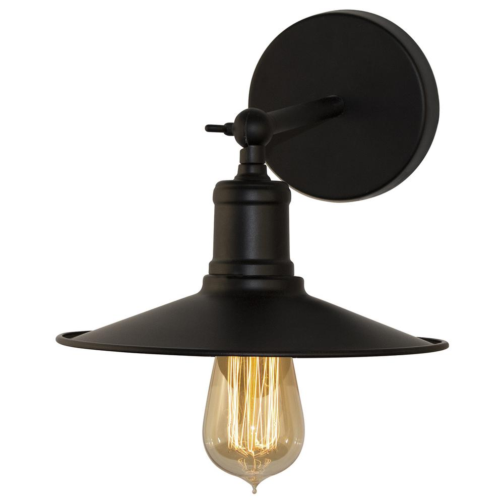 BAZZ Vesta 6 in. 1-Light Vintage Matte Black Indoor Wall Sconce ...