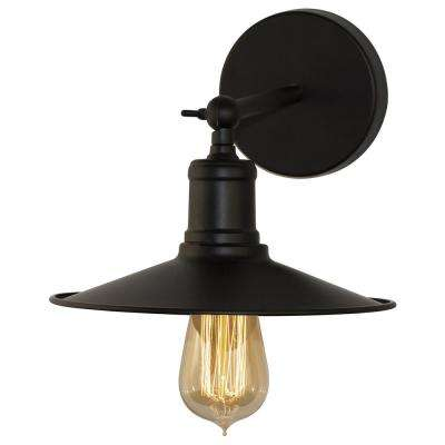 Vesta 6 In. 1 Light Vintage Matte Black Indoor Wall Sconce