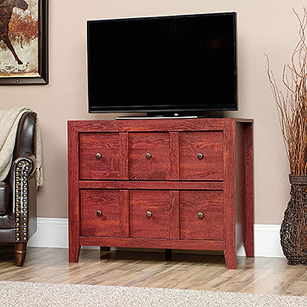Sauder dakota pass fiery pine storage console table 418231 the sauder dakota pass fiery pine storage console table geotapseo Gallery