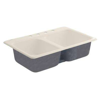 Drop-In Cast Iron 33x22x9.5 4-Hole Double Bowl Kitchen Sink in Bisque