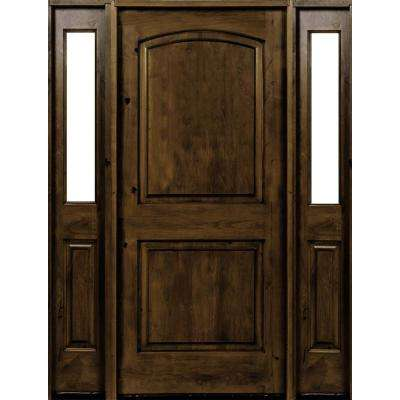 58 in. x 80 in. Rustic Knotty Alder Arch Provincial Stained Wood Right Hand Single Prehung Front Door