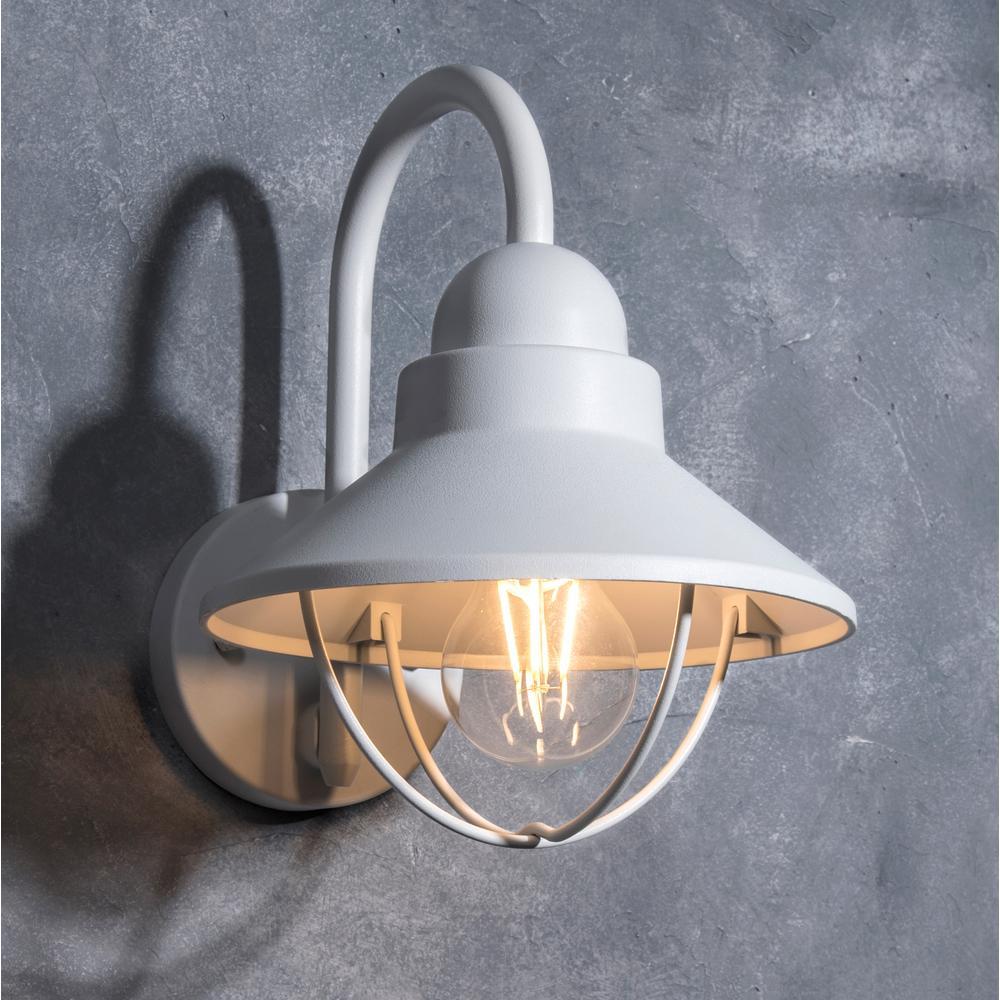 Coastal Mystic 1-Light White Outdoor Wall Lantern Sconce