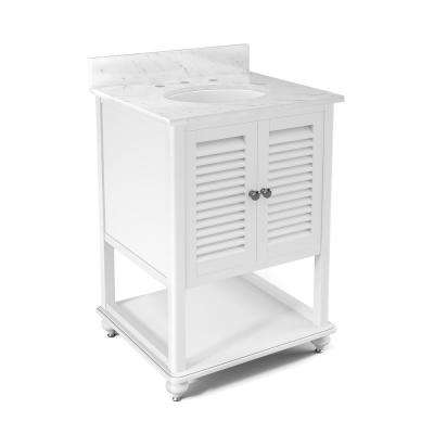 Tahiti 25 in. W x 22 in. D Vanity in White with Marble Vanity Top in White with White Basin