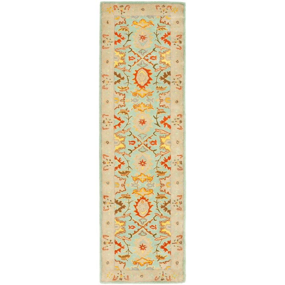 Heritage Light Blue/Ivory 2 ft. 3 in. x 12 ft. Runner
