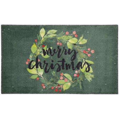 Christmas Wreaths Green 2 ft. 6 in. x 4 ft. 2 in. Area Rug