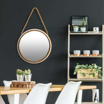 Distressed Rope Round White Wall Mirror